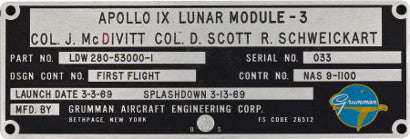 Apollo 9 Lunar Module Flown LM-3 Spacecraft Identification plate