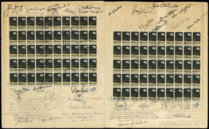Apollo signed stamp sheet