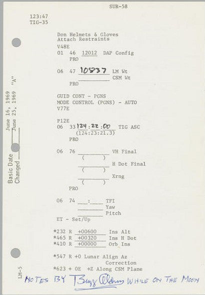Apollo 11 Buzz Aldrin notes