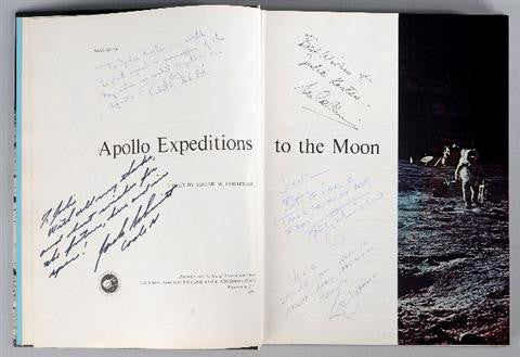 First edition Apollo book signed by moonwalkers