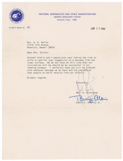 Neil Armstrong letter signed first words one small step