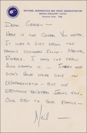 Neil Armstrong handwritten ALS signed letter to friend