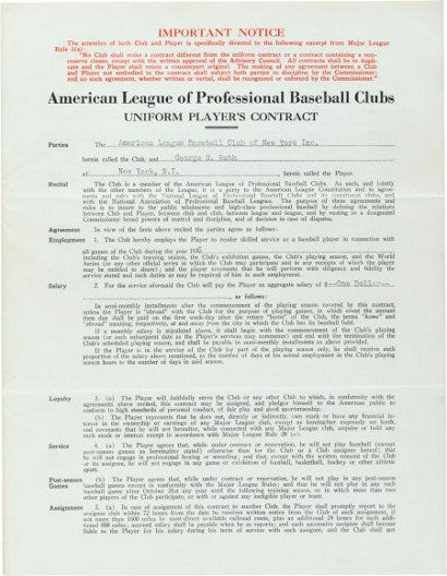 Babe Ruth Final Contract