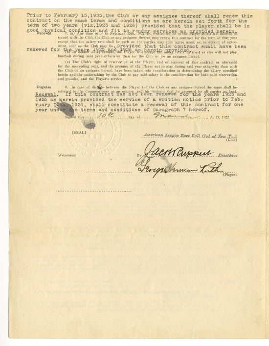 Babe Ruth first Yankees contract