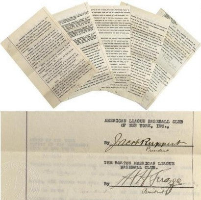 Babe Ruth's New York Yankees contract sold for $996,000 in 2005
