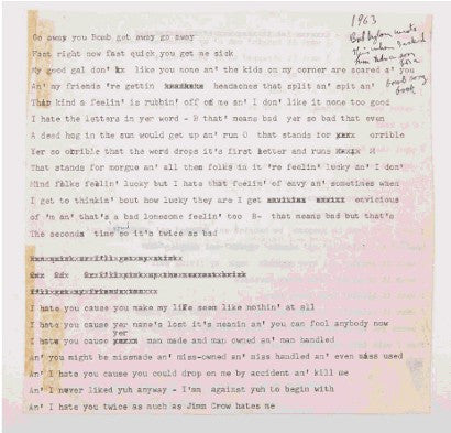 Bob Dylan unpublished lyrics