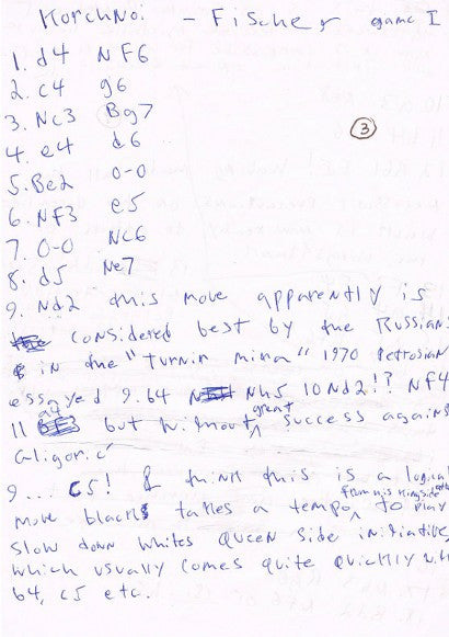 Bobby Fischer Chess handwritten notes
