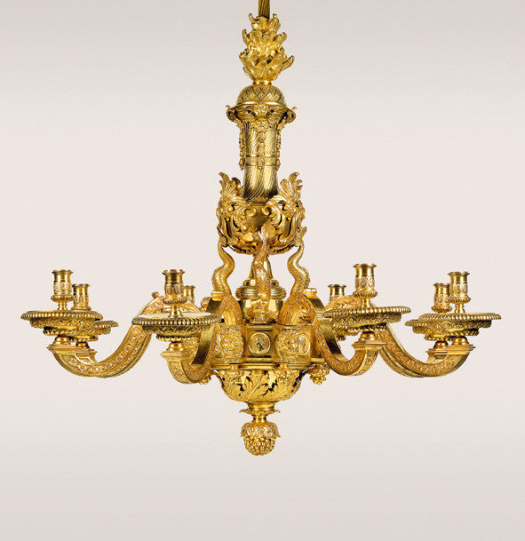 Bronze Chandelier by Boulle