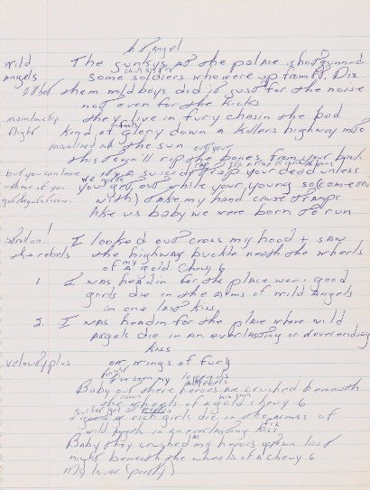 Bruce Springsteen handwritten lyrics