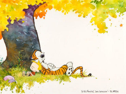 Calvin and Hobbes sleeping - signed for Rick Marschall by Bill Watterson