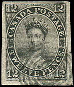 British North America Canadian black 12d stamp