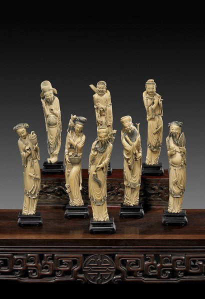 Carved ivory immortals