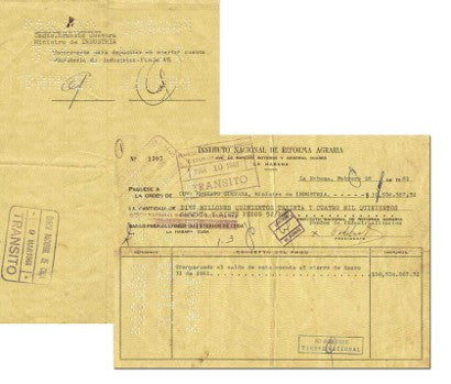 Cheque from Castro to Guevara