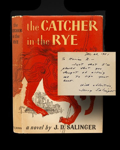 J D Salinger Catcher in the Rye signed and inscribed first edition