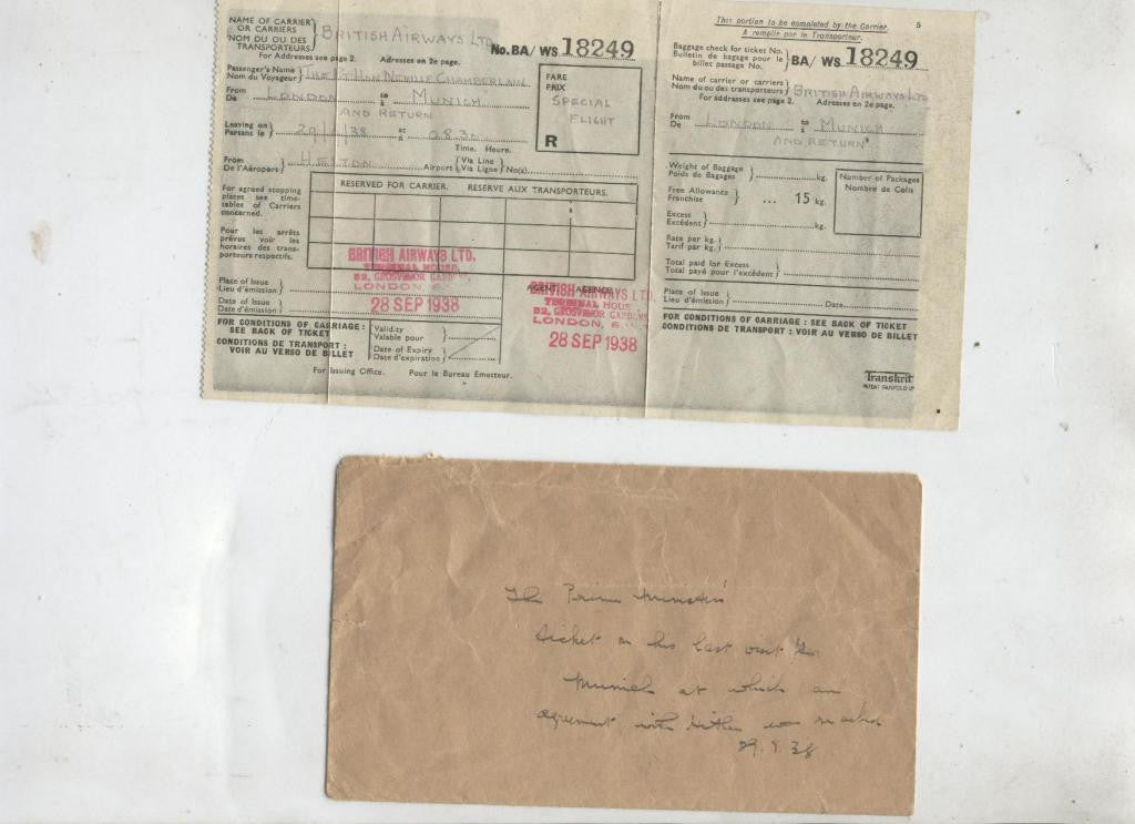 Neville Chamberlain's place ticket to sign the Munich Treaty with Adolf Hitler