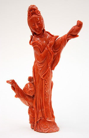 Chinese carved coral figurine