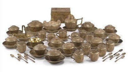 Chinese silver gilt Qing tea set
