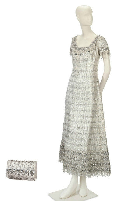 Christian Dior gown with a silver-encrusted brocade and matching purse
