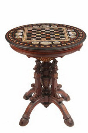 Italian slate top game table with micro-mosaic