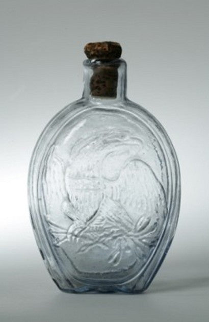 Clear glass blown flask bottle American Eagle