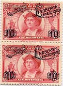 Costa Rica Red Lindbergh surcharge stamp pair