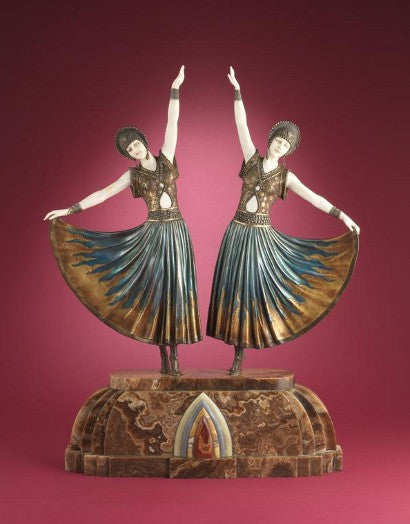 The Dolly Sisters sculpture Demetre Chiparus