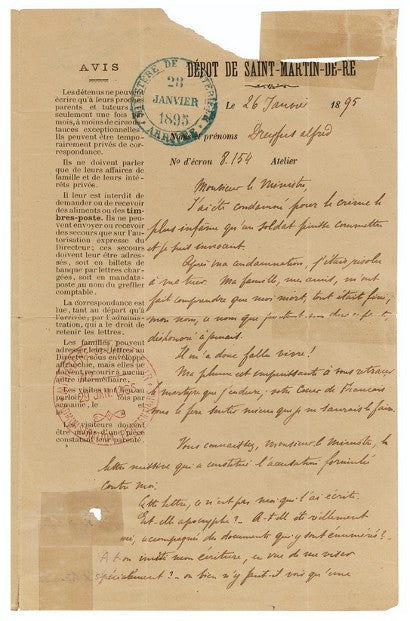 Dreyfus Affair letter auction Sothebys