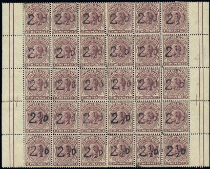 1928 block of thirty 21/2 d surcharge