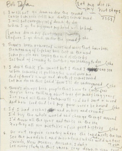 Bob Dylan handwritten lyrics Let Me DIe In My Footsteps