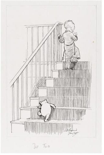 EH Shepard Christopher Robin Winnie the Pooh Stairs