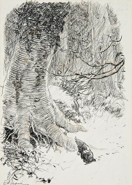 E H Shepard signed illustration from The Wind in the Willows