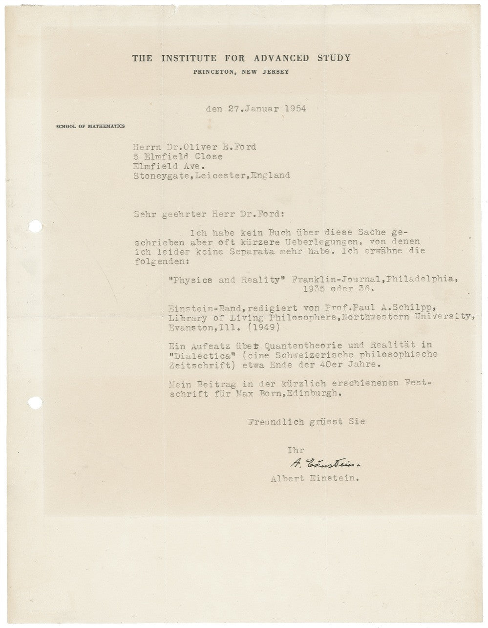 Albert Einstein's TLS signed letter to Dr Oliver Ford