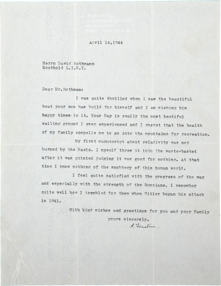 Einstein's TLS to David Rothman explaining the fate of his relativity manuscript
