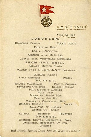The First class Titanic menu, dated April 14