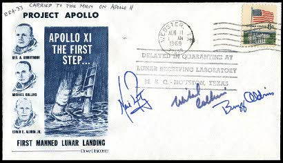 Flown to the moon Apollo 11 signed cover Neil Armstrong