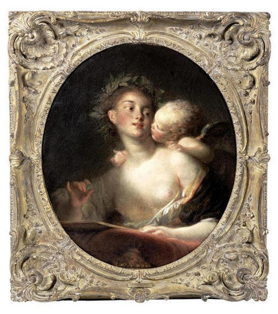 Jean-Honore Fragonard Sappho inspired by Cupid