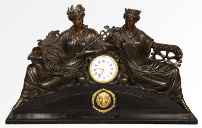 French bronze mantel clock Lerolle brothers
