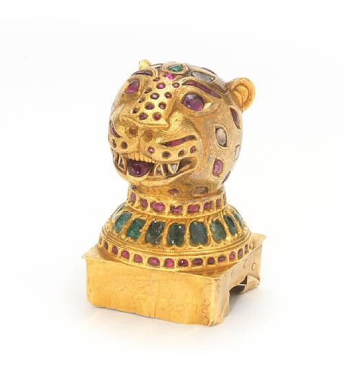 Gem set gold finial tiger