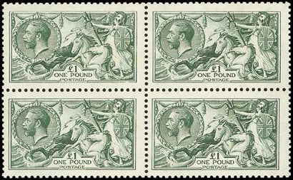 George V Seahorses stamp block