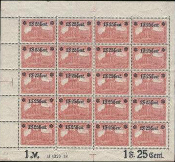 German occupation of France stamp sheet