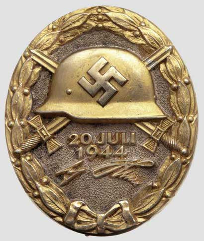 Gold German WWII Nazi wound badge