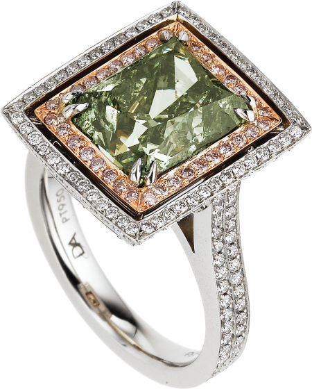 Green Pink Diamond platinum and gold ring