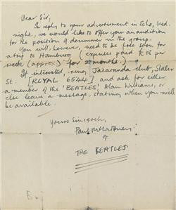 Handwritten letter by Paul McCartney, Beatles