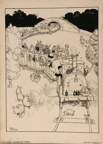 William Heath Robinson cartoon First Excursion Train