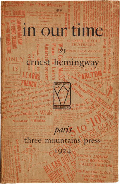 Ernest Hemingway In Our Time first edition Paris