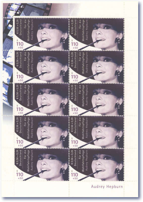 Sheet of rare Audrey Hepburn stamps
