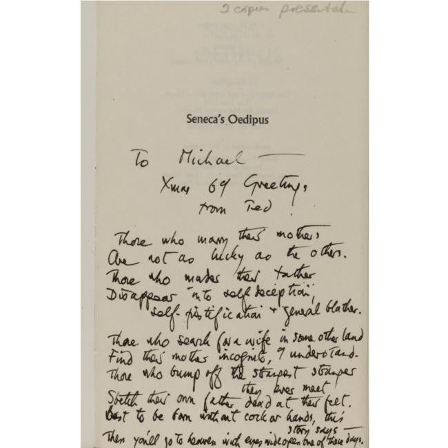 Ted Hughes letter from Nick Gammage collection