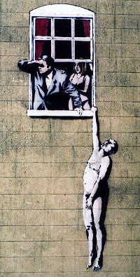 Banksy's Naked Man, sprayed the wall of a sexual health clinic in Bristol