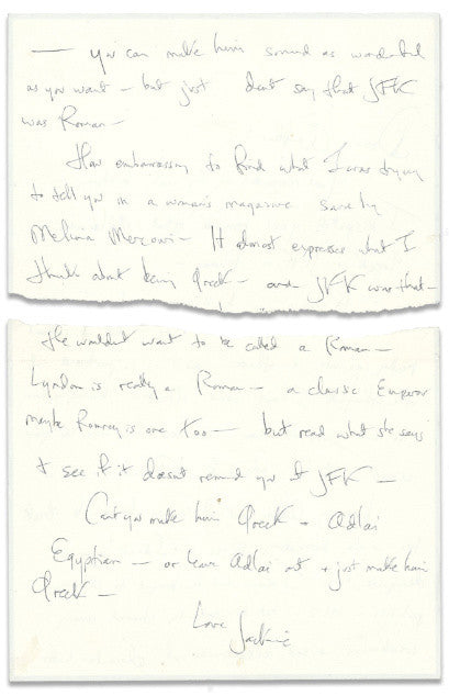 Jackie Kennedy's letter to Professor Schlesinger, Jr after JFK's assassination