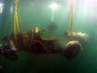 Drives well in the wet... the sunken Bugatti